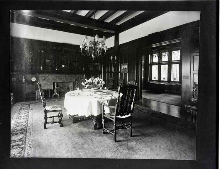 Image is a set table located in the hatley castle
